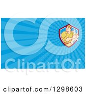 Clipart Of A Retro Cartoon Male Mechanic Holding A Wrench And Blue Rays Background Or Business Card Design Royalty Free Illustration