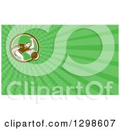 Clipart Of A Retro Man Bowling And Green Rays Background Or Business Card Design Royalty Free Illustration