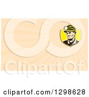 Clipart Of A Retro Caucasian Male Miner With A Headlamp And Pastel Orange Rays Background Or Business Card Design Royalty Free Illustration