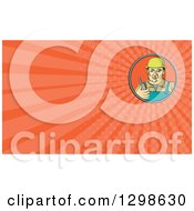 Clipart Of A Retro Male Construction Worker Holding A Radio Phone And Orange Rays Background Or Business Card Design Royalty Free Illustration by patrimonio