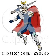 Clipart Of A Cartoon Caped Knight Leaping With A Sword Royalty Free Vector Illustration by patrimonio