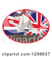 Retro Sprinting Track And Field Athlete In A Union Jack Flag Oval