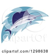 Clipart Of A Marlin Fish With Water Royalty Free Vector Illustration
