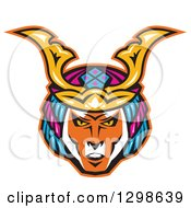 Clipart Of A Japanese Samurai Warrior Face Royalty Free Vector Illustration by patrimonio
