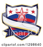 Clipart Of A Retro Rodeo Shield With Stars And A Blank Ribbon Banner Royalty Free Vector Illustration