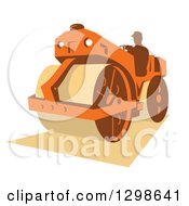 Retro Silhouetted Man Operating A Road Roller Machine