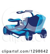 Clipart Of A Retro Blue Ride On Lawn Mower Royalty Free Vector Illustration