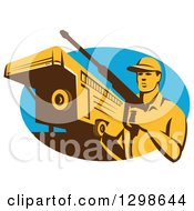 Clipart Of A Retro Male Pressure Washer With A Stock Trailer In A Blue Oval Royalty Free Vector Illustration