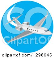 Clipart Of A Flying White Airplane Inside A Blue Circle Royalty Free Vector Illustration