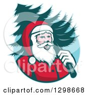 Clipart Of A Retro Santa Claus Carrying A Christmas Tree Over His Shoulder In A Blue Circle Royalty Free Vector Illustration