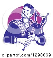 Retro Male Scotsman Bagpiper Emerging From A Purple Circle