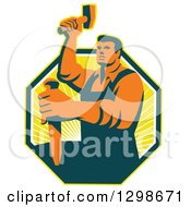 Clipart Of A Retro Male Sculptor Striking A Chisel In A Yellow Sunshine Octagon Royalty Free Vector Illustration