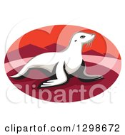 Clipart Of A Retro New Zealand Fur Seal On A Red Beach With Mountains In An Oval Royalty Free Vector Illustration