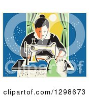 Clipart Of A Retro Woman Sewing With A Machine By A Window Royalty Free Vector Illustration