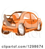 Clipart Of A Retro Cartoon Orange Sports Car Royalty Free Vector Illustration