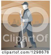 Clipart Of A Retro Street Cleaner With A Broom Against Brown Royalty Free Vector Illustration