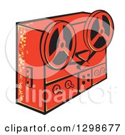 Clipart Of A Retro Red Tape Deck Recorder Royalty Free Vector Illustration