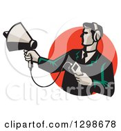 Clipart Of A Retro Male Technician Holding A Sonar Radar Finder In A Red Circle Royalty Free Vector Illustration