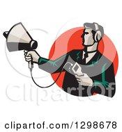 Retro Male Technician Holding A Sonar Radar Finder In A Red Circle