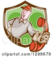 Cartoon White Telephone Repair Man Holding Out A Red Receiver In A Brown Green And White Shield