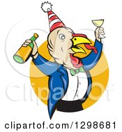 Clipart Of A Turkey Bird Man Celebrating With Champagne At A Party Emerging From A Yellow Circle Royalty Free Vector Illustration by patrimonio