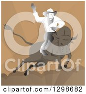Clipart Of A Retro Rodeo Cowboy On Abull Over Brown Royalty Free Vector Illustration
