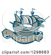 Clipart Of A Retro Galleon Ship With A Blank Banner Scroll Royalty Free Vector Illustration by patrimonio