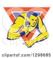 Clipart Of A Retro Male Track And Field Shot Put Athlete Throwing In A Purple White And Orange Triangle Royalty Free Vector Illustration