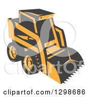 Clipart Of A Retro Skid Steer Machine Royalty Free Vector Illustration