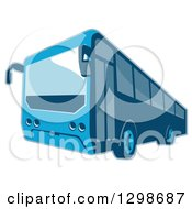 Clipart Of A Retro Blue Shuttle Bus Coach Royalty Free Vector Illustration
