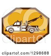 Clipart Of A Retro Tow Truck In A Yellow And Brown Octagon Royalty Free Vector Illustration