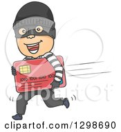 Cartoon White Male Robber Running With A Stolen Credit Card