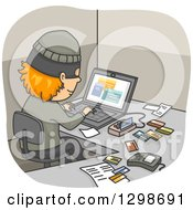 Clipart Of A Thief Using A Device And Laptop To Commit Credit Card Fraud Royalty Free Vector Illustration