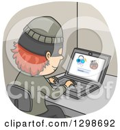 Clipart Of A Thief Illegally Downloading Internet Files Royalty Free Vector Illustration