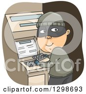 Clipart Of A Criminal Installing A Credit Card Skimmer On An Atm Machine Royalty Free Vector Illustration