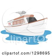 Clipart Of A Private Yacht Boat Royalty Free Vector Illustration