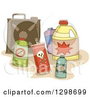 Clipart Of Containers Of Pesticides Royalty Free Vector Illustration