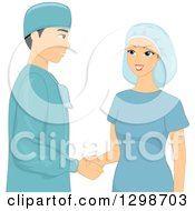 Clipart Of A Male Plastic Surgeon And Patient In Scrubs Shaking Hands Royalty Free Vector Illustration by BNP Design Studio