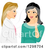 Clipart Of A Dirty Blond White Female Plastic Surgeon Doctor Discussing Winkles With Her Patient Royalty Free Vector Illustration