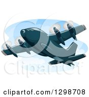 Clipart Of A Cargo Plane In Flight Royalty Free Vector Illustration
