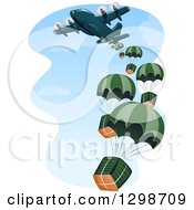Clipart Of A Cargo Plane Making A Drop Royalty Free Vector Illustration by BNP Design Studio