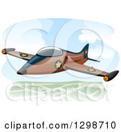 Clipart Of A Military Jet Flying Royalty Free Vector Illustration