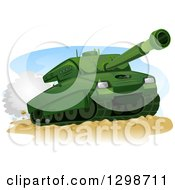 Clipart Of A Green Military Tank In Action Royalty Free Vector Illustration by BNP Design Studio