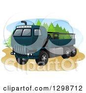 Clipart Of A Blue Army Truck Royalty Free Vector Illustration by BNP Design Studio
