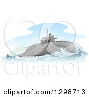 Clipart Of A Surfacing Submarine Royalty Free Vector Illustration