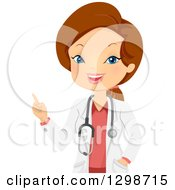 Brunette White Female Doctor Or Veterinarian Talking And Pointing