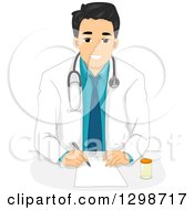 Handsome Young Male Doctor Writing A Prescription
