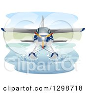 Clipart Of A Seaplane Cruising On Water Royalty Free Vector Illustration