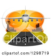 Clipart Of A Commercial Airliner Landing At Sunset Royalty Free Vector Illustration