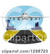Clipart Of A Commercial Airliner Departing Royalty Free Vector Illustration